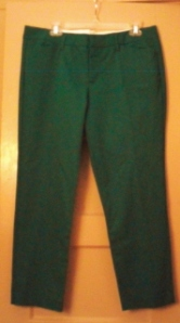 Tailored, ankle cut emerald green pants, size 14 Petite.  they make my butt look fantastic!