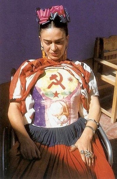 Kahlo in a body cast she painted while on her back recovering from surgery