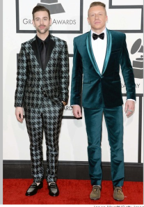 Not sure about the Hush Puppies on Macklemore, but, hey, what else do you wear with teal velvet?