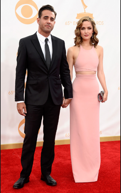 Bobby Cannavale and Rose Byrne at the 2013 Emmys. Bobby gets the details right with a simple well-tailored dark suit and trim silk tie.  No satin lapels needed.
