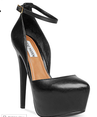 "Steve Madden ""Deeny"" platform pumps, which you can buy right now at Macy's.com  (where you can't buy health insurance in case you break an ankle with these.)"