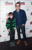 Ty Burrell and co-star Max Charles at a screening for Mr. Peabody and Sherman