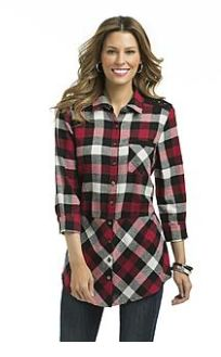 Buffalo Check.  In flannel, it's great casual. Dress it up with a Glen plaid skirt for fun. Buffalo check plaid tunic, K-Mart