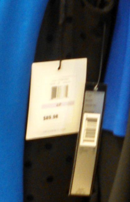 Tag from aCalvin Klein dress sold at Macys